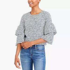 J. Crew Blouse Tiered Bell Sleeve Top 10